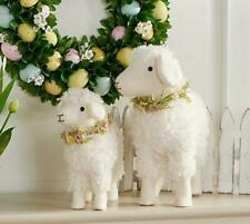Set of 2 Plush Lamb Figures with Floral Accents by Valerie
