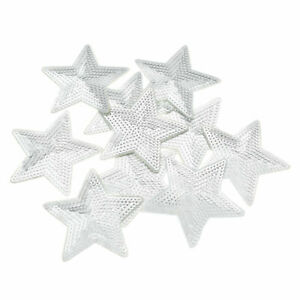10pcs Silver Stars Patches Iron on DIY Embroidery Applique Clothes Decor Sequins