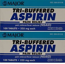 Major Tri Buffered Aspirin 325mg (Compare to Bufferin) 100ct -2 Pack