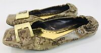 BCBG Ballet Flats Women Shoe Casual Logo Slip On Brown Tan With Gold Toe Buckle