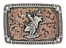 Montana Silversmiths Attitude Mens Silver Bronze Bull Rider Belt Buckle A567
