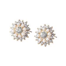Pearl Cluster Snowflake Gold White Shiny Snow Sparkle Women Stud Earrings E1153