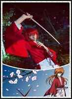 Rurouni Kenshin Himura Kenshin Kimono Kendo Cosplay Halloween Costume Red White