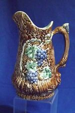 "ANTIQUE MAJOLICA  GRAPES & VINE WITH FERNS GRAPE THUMB REST ON HANDLE 9""PITCHER"