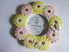 "Ceramic Photo Frame, Holds 2.75"" Diam. Photo, Flowers design"