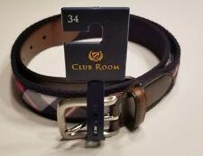 CLUB ROOM  Red White & Navy Plaid Print Belt **NEW.  Size 34