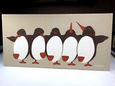"Marushka Penguins Themed Art Silkscreen 24""x 12"" 1982 Mounted Fabric On Frame"
