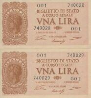 Currency Italy 1944 WWII War Era VNA Pair Consecutive 1 Lira Uncirculated