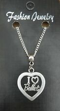 "18"" or 24 Inch Chain Necklace & I Love Ballet Pendant Charm Ballerina Dancer"