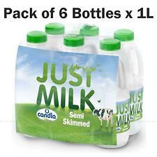 Candia Just Milk UHT Long Life Semi-Skimmed Fresh Milk - Pack of 6 Bottles x 1L