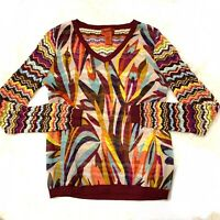 Missoni For Target | V-Neck Top | Mixed Zig Zag Print Knit Colorful Sz S Sweater
