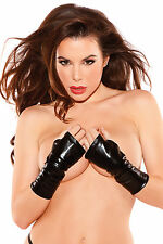 SEXY FINGERLESS WET LOOK BLACK GLOVES HALLOWEEN COSTUME ACCESSORY