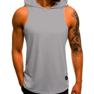 Mens Muscle Hoodie Tank Top Sleeveless Vest Gym Workout Bodybuilding T-shirt NEW
