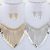 EG_ Women's Fashion Tassel Pendant Choker Necklace Hook Earrings Jewelry Set Mod