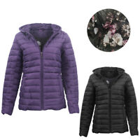Women's Thick Hooded Puffer Jacket Quilted Padded Puffy Amethyst Coat
