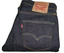 Nouveau Homme Levi's 504 Straight Stretch Bleu Foncé Denim Jeans W32 L30 entièrement neuf sans étiquette
