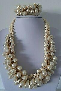 Woman's Chunky Beaded Cream & Gold Tone Necklace & Elasticated Bracelet Set