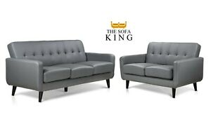 Grey PU Sofas - 3+2 Seaters & Chairs. Compact Range Free Next Day Available