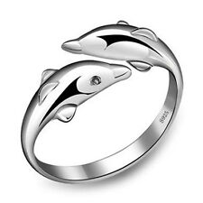 New Fashion Women 925 Sterling Silver Crystal Jewelry Lady Dolphin Ring Gift