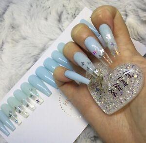 Baby Blue Butterfly Press On False Extra Long Ballerina Nails Set