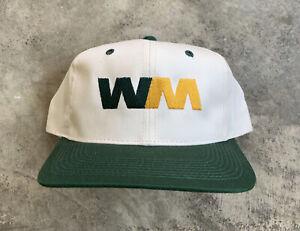 Vintage Waste Managment Youngan Snapback Hat WM White Green Retro