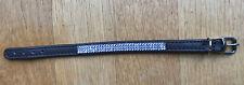 swarovski Light Blue On Dark Brown Real Leather puppy Dog Collar 8- 9 In