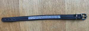 swarovski Light Blue/Dark Brown Real Leather puppy Dog Collar 8/9In,bracelet
