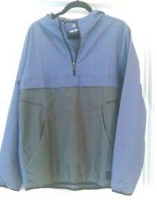 Mens Size S Hoodie Adidas ADICROSS Half Zip Jacket Top BLUE Pullover with Hood