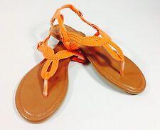 Large Size Ladies Orange Knot T Bar Flat Sandals Shoes size UK10 PLUS SIZE