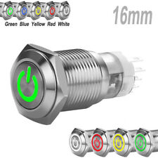 16mm 12V Car Metal Silver Aluminum LED Power Push Button ON/OFF Switch Latch