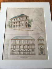 East Orange National Bank, East Orange, Nj, 1896, Original Plan Hand-colored