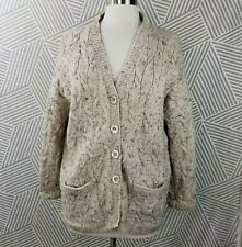 VTG Hand Knit Cardigan Sweater Size Large/XL Button Down Chunky Cable pockets