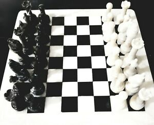 """12""""x12"""" Marble Chess Set Black & White Hand Made Superior Quality Carved Pieces"""
