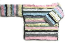 New Kss Handmade Pink and Bright pastel Striped Toddler Sweater 2T Sw-489 Sale