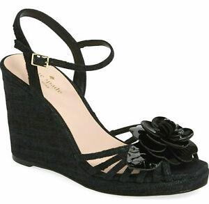 Kate Spade Beekman Women's Wedge Heel Sandals in Black Raw Silk Size 10