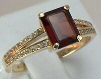 Vintage Original Rose Gold Ring with Natural Garnet 585 14K, Natural Garnet Ring