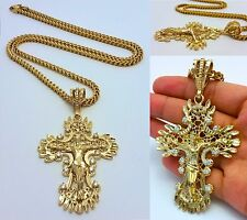 14K GOLD FILLED 4mm STAINLESS STEEL FRANCO CHAIN W/ JESUS CROSS PENDANT NECKLACE
