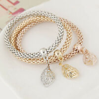 1PCS  Women Lady Crystal Rhinestone Cuff Bangle Charm Leaf Bracelet   AU