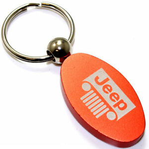 Orange Aluminum Metal Oval Jeep Grille Logo Key Chain Fob Chrome Ring