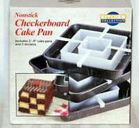 "Kitchen Collections 9"" Checkerboard Cake Pan Set 3 Pans/Dividers"