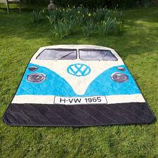 VW Volkswagen Split Screen Kombi Bus Camper Van Picnic Rug Beach Blanket - Blue