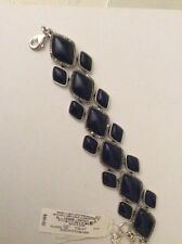 $49  Lucky Brand Silver-Tone Geometric Lapis Stone Bracelet 806a