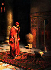 Oil painting Ludwig Deutsch - Arab male portrait in red - At prayer on Carpet