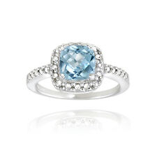 Sterling Silver Blue Topaz & Diamond Accent Square Ring S10