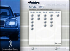MERCEDES CHASSIS 126 SERVICE MANUAL 300 350 SD SDL 380 420 500 560 SE SEC SEL
