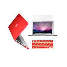 "3 in 1 Rubberized RED Case for Macbook PRO 13"" + Keyboard Cover + LCD Screen"
