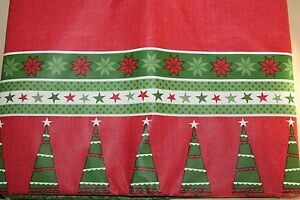 """HOLIDAY STYLE BORDER DOTS STRIPES STARS FLANNEL BACK VINYL TABLECLOTH   52 X 70"""""""