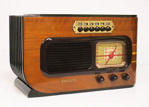 Old Antique Wood Philco Vintage Tube Radio - Restored & Working Deco Table Top