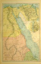 1928 MAP EGYPT NILE DELTA SUEZ CANAL CAIRO SUDAN ERITREA ANGLO EGYPTIAN ARABIA