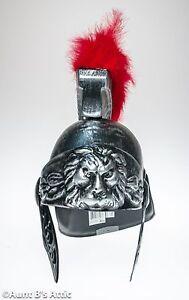 Roman Solider Helmet Brushed Silver Metallic Look Plastic Costume Helmet W/ Red